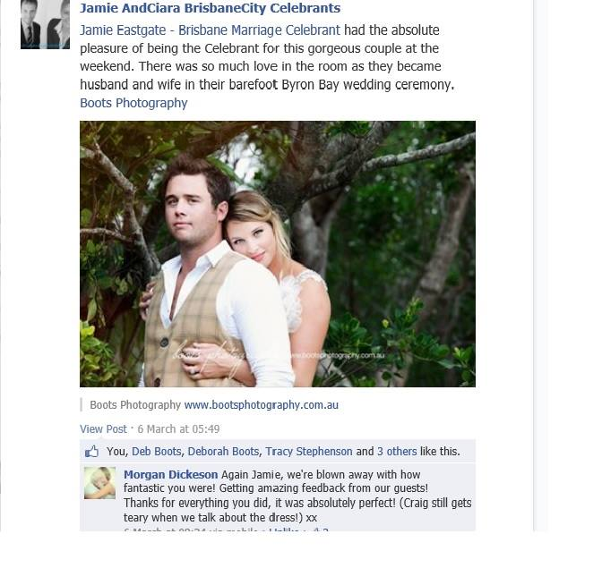 Testimonials from Byron Bay bride and groom Morgan and Craig