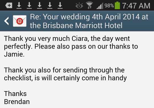Very happy Brisbane Marriott Hotel newlyweds.