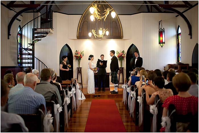 Broadway Chapel Wedding Ceremony with Brisbane Celebrant Jamie Eastgate. Images: Brian Rogers Photographics