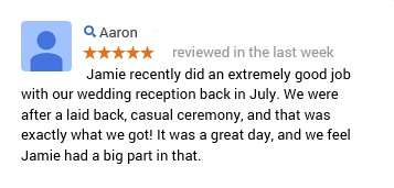 5 star review for Brisbane City Celebrants Jamie Eastgate