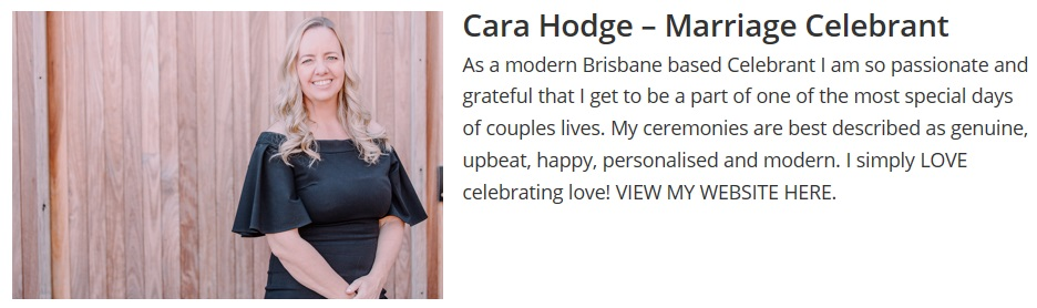 Cara Hodge Brisbane Wedding Celebrant non-religious
